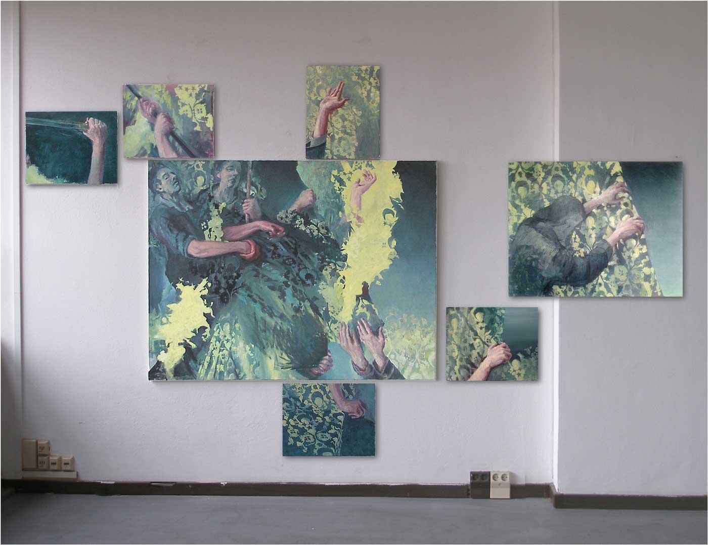 Arrest, Installations-Ansicht    Öl / Lwd., 40 x 50, 70 x 90 und 120 x 155 cm, 2015/16