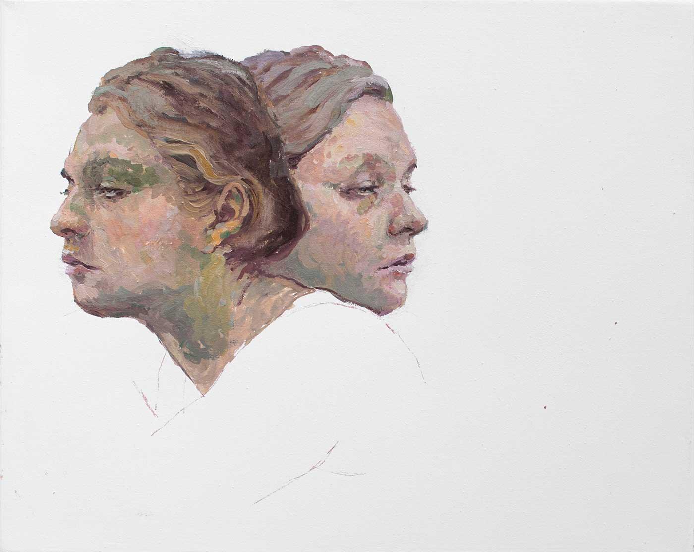 Janus2 50 x 40cm, Öl Lwd, 2018