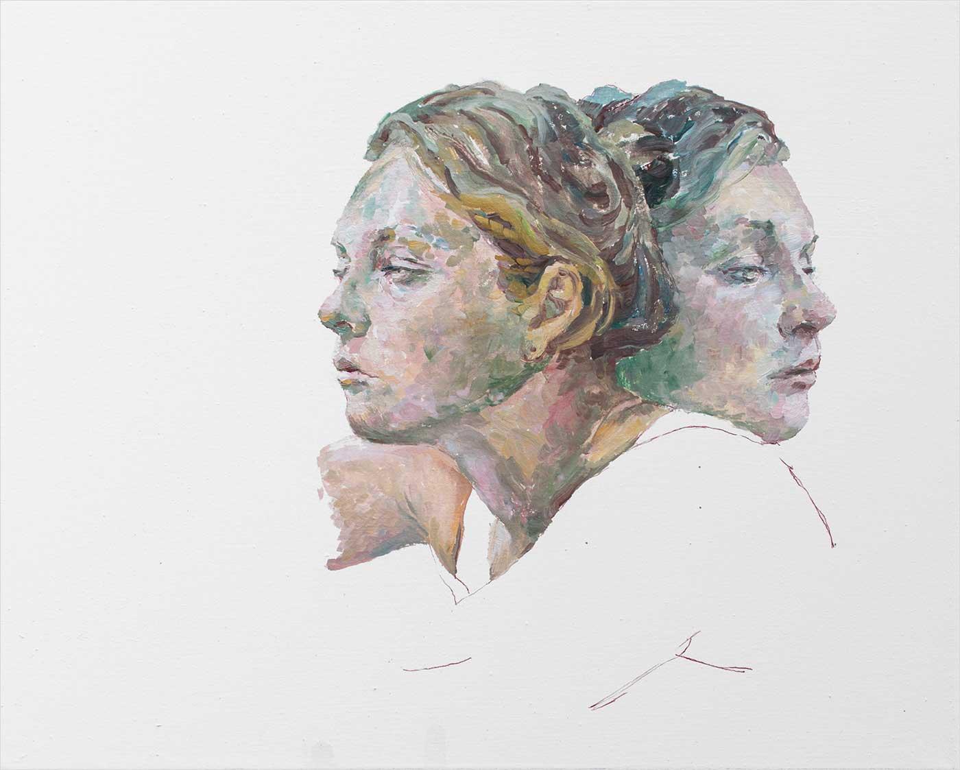Janus 50 x 40 cm, Öl Lwd 2018