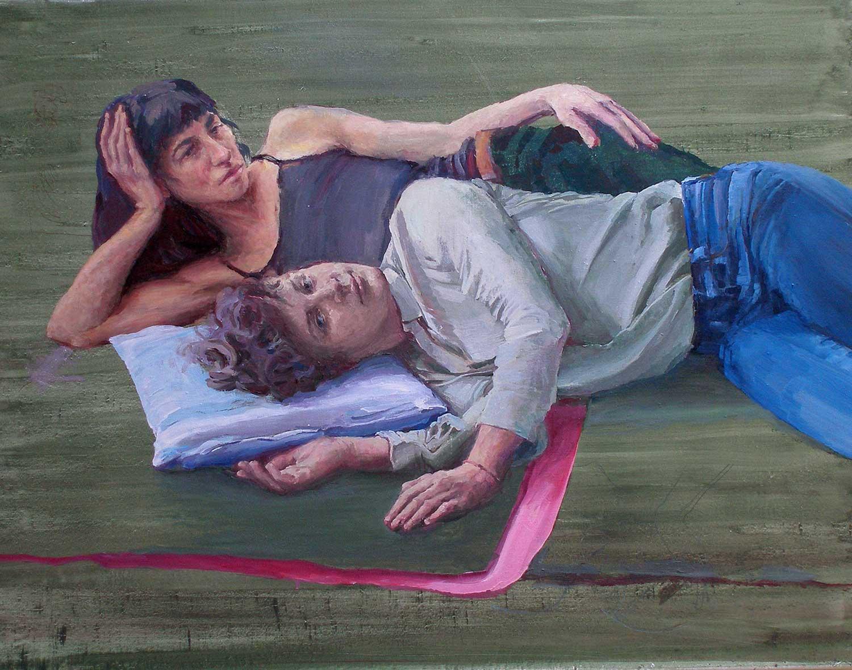 Heleen und Joana als Junge Daman am Ufer der Seine, 70 x 90 cm, Öl/Lwd., 2019