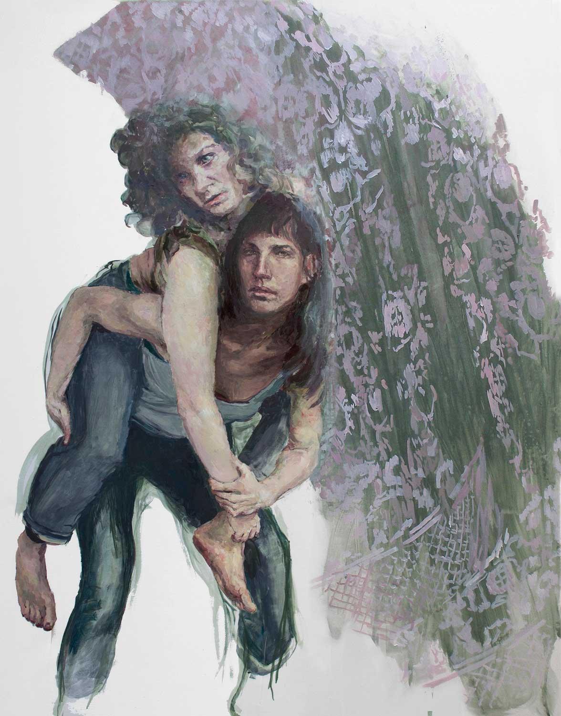 Heleen und Joana probieren für Anchises und Aeneas, 155 x 120 cm, Öl/Lwd., 2019
