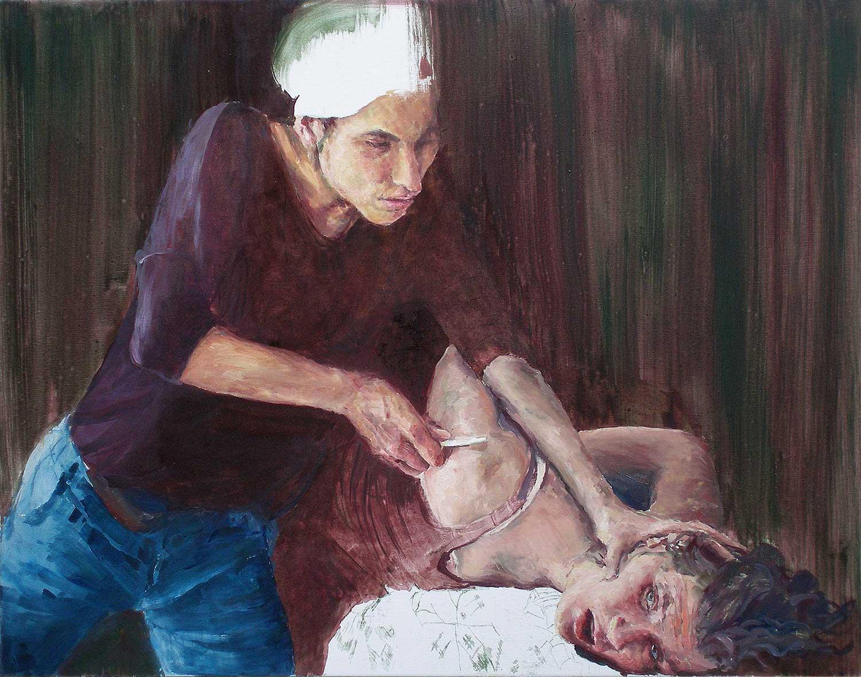 Heleen und Joana probieren für Isaak, 70 x 90 cm, Öl/Lwd., 2019