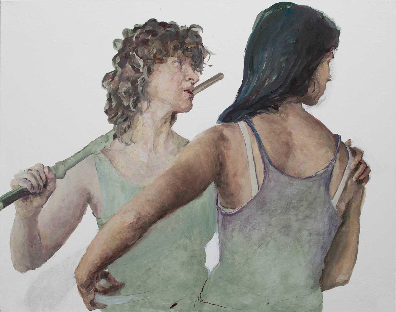 Heleen und Joana probieren für Judith, 70 x 90 cm, Öl/Lwd., 2019