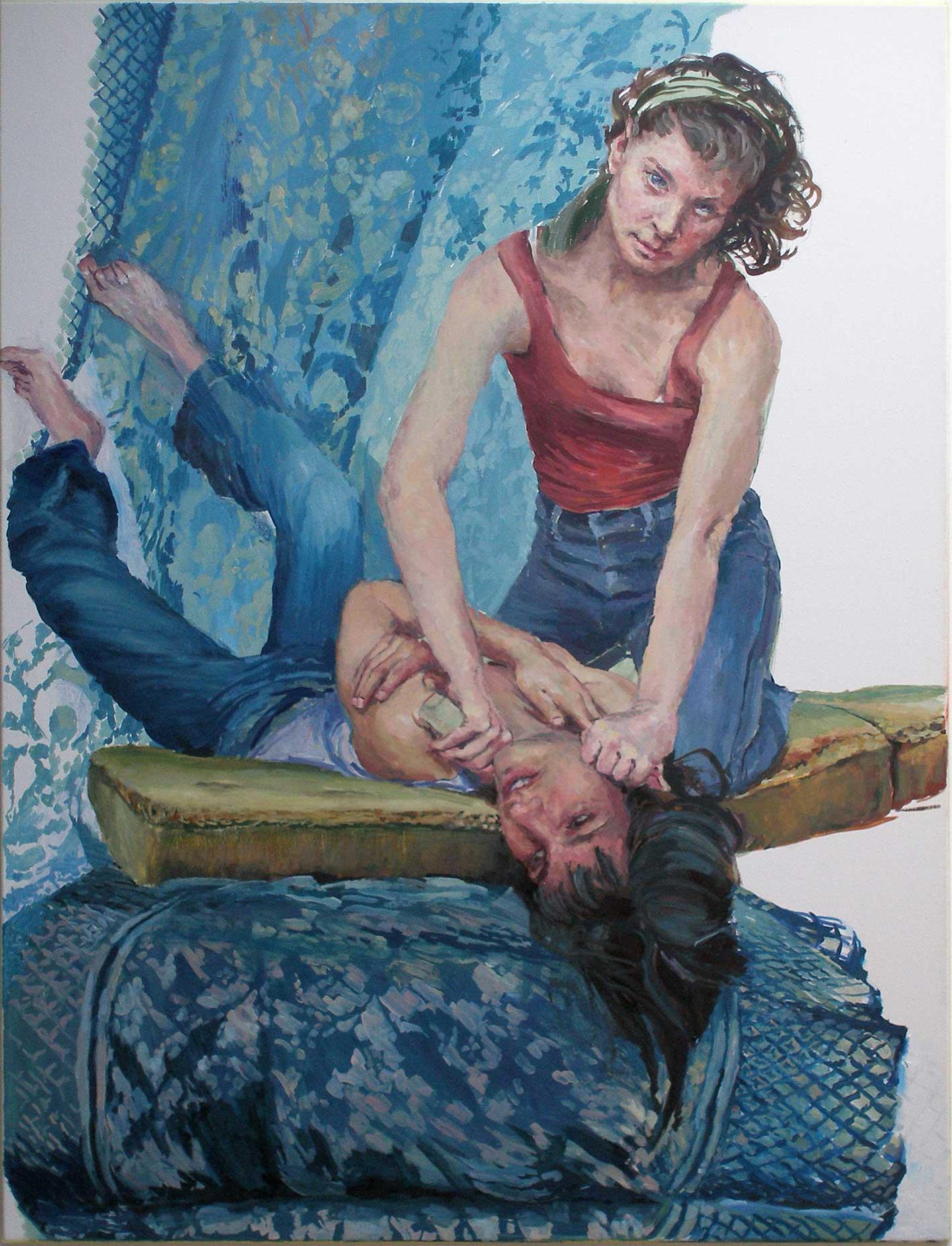 Heleen und Joana probieren für Judith, 160 x 120cm, Öl/Lwd., 2019