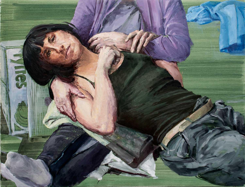 Joana und Stefaniaprobieren Maria mit dem Kinde, 70 x 90 cm, Öl/Lwd., 2019